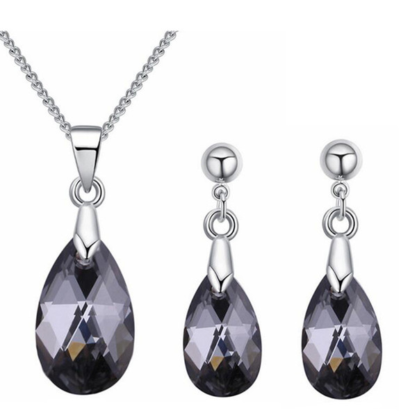 Water Drop Crystal from Swarovski Elements High Quality Necklace Earrings Women Jewelry Sets Rhinestone Bijoux Accessories 27382