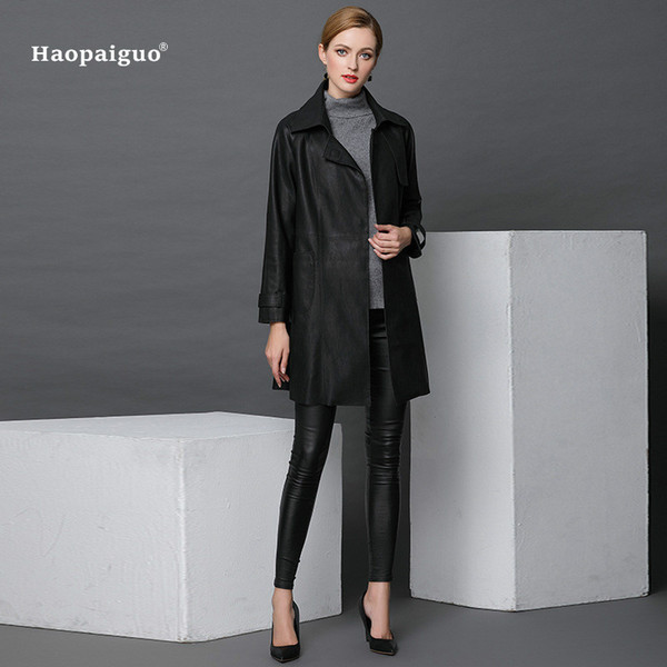Kadın Moda Sonbahar Winte PU Deri 2018 Siyah Tam Kollu Turn-aşağı Yaka Vintage Ofis Uzun Coat Çalışma Bayanlar Dış Giyim Palto