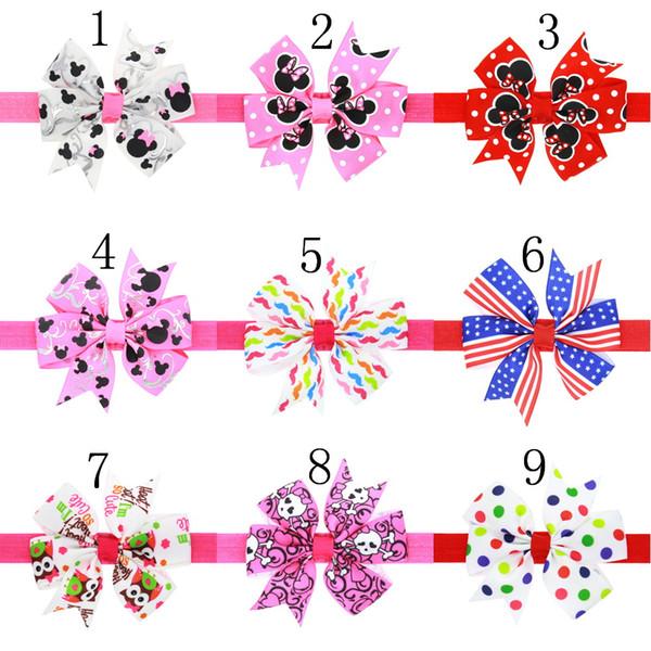 20pcs pelo arco diadema hermosa flor de la cinta del arco de las vendas del pelo para los niños recién nacidos Top nudo punto accesorios para el cabello HC067