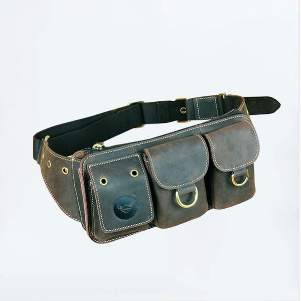 Vintage Craze Horse Leather Waist bag chest pack shoulder bag purse #0483