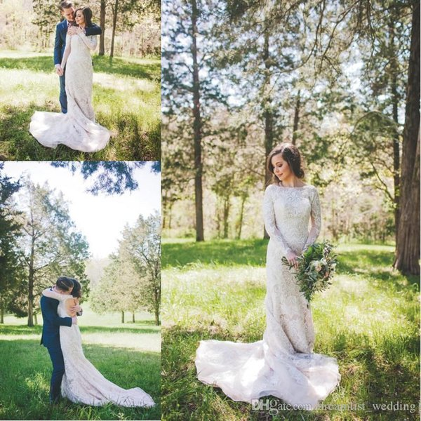 2017 Modest Country Style Wedding Dresses with Long Sleeves Floor Length Backless Lace Wedding Dress Vestidos De Noiva