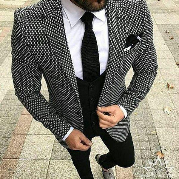 2018 Black White Pattern Tweed Men Suit Slim Fit Floral Wedding Suits for Men Groom Tuxedo 3 Piece Custom Prom Blazer Terno S18101903