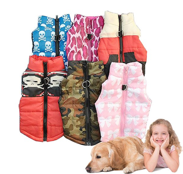 Dog Winter Vest 2018 New Style with Back Zipper and Buckle Waterproof Dog Down Jacket Fashion Camouflage Cloth Windproof Dog Warm Vest
