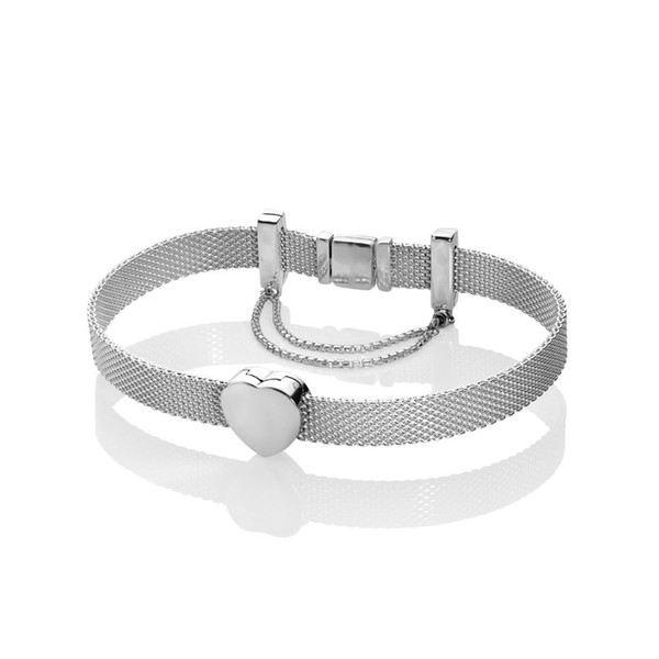 925 Sterling Silver Pandora Style Modern Mesh Reflexions Bracelet with Heart Charm Bead and Safety Chain