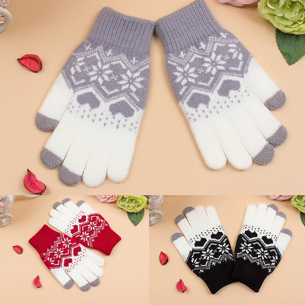 Damen Handschuhe Touch Screen Winter-Strickhandschuhe Fahrrad im Freien Handschuhe Snowflake Jacquard Handschuhe weiche warme Hot Verkauf