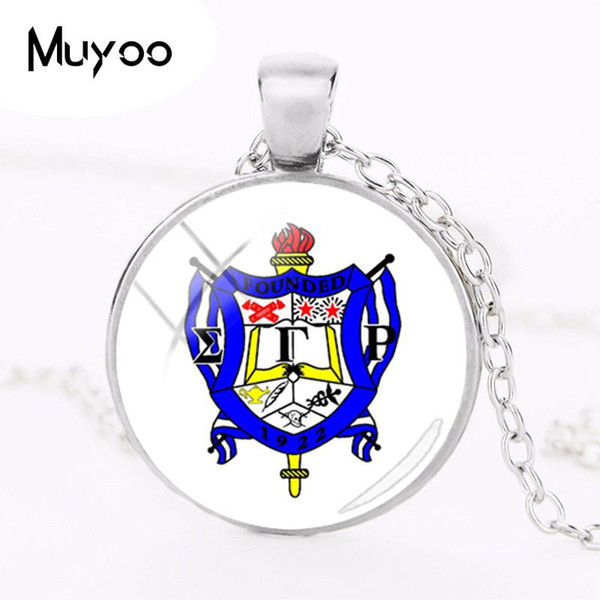 2018 New Sigma Gamma Rho Sorority Necklace Pendant Silver Hand Craft Jewelry Round Glass Art Printed Photo Necklaces HZ1
