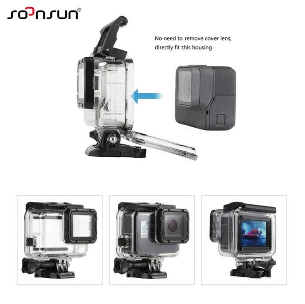 SOONSUN 45M Underwater Diving Waterproof Housing Case + Dive Color Lens Filter Kit for GoPro Hero 5 6 for Go Pro HERO5