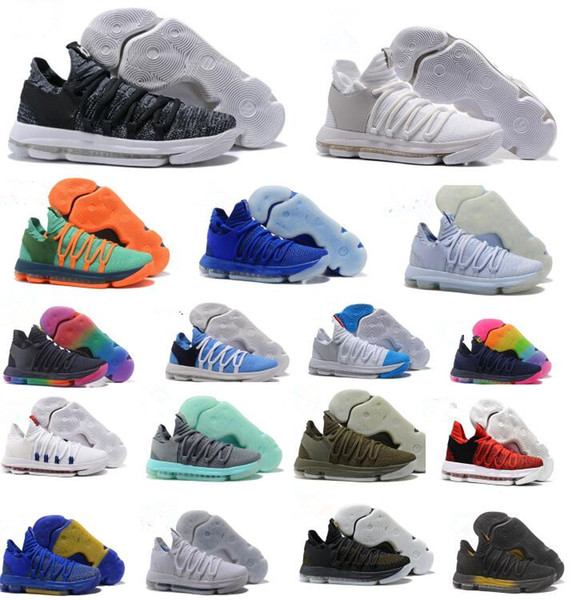 ce4d32bfc78 KD10 Basketball shoes black white red blue grey Chrome Igloo Olive oreo  university red PE BETRUE Anniversary men sneakers size US7-12