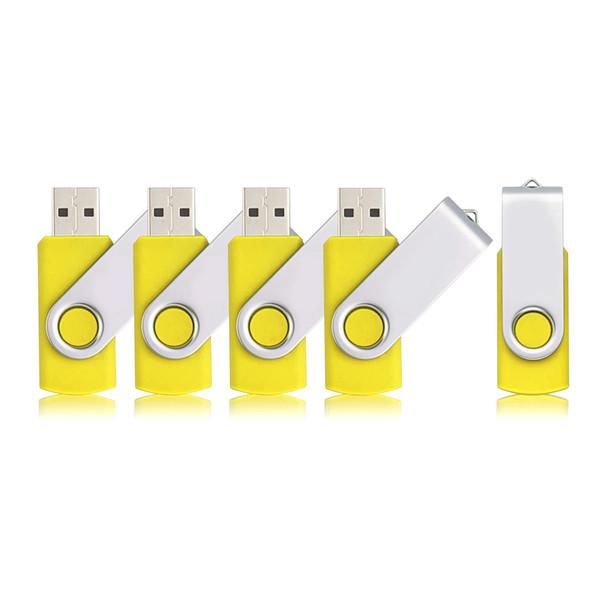 Yellow 5PCS/LOT 1G 2G 4G 8G 16G 32G 64G Rotating USB Flash Drives Flash Pen Drive High Speed Memory Stick Storage for PC Laptop Macbook
