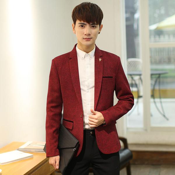 Мужская slim fit blazer повседневная корейская мода 2018 одна кнопка M-3XL 3color выстроились хорошее качество деловой костюм куртка серый красный желтый