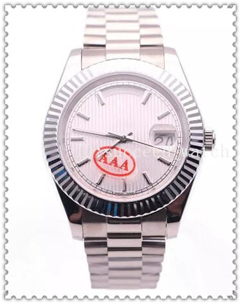 75 Luxury Men's Watch DAYDATE Style White Striped Dial High Quality Sapphire Glass Automatic Movement 316L Folding Buckle Stainless Steel S