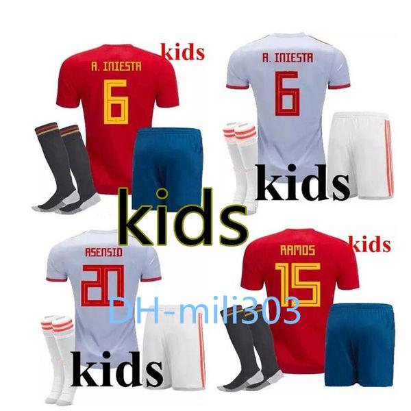 18 19 dünya kupası İspanya çocuklar Ev kırmızı futbol Forması kiti 2018 ISCO PIKA RAMOS A. INIESTA ASENSIO çocuk futbol forması Futbol formaları satış