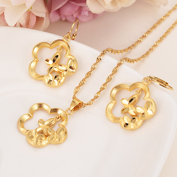 Africa Gold flower butterfly earrings jewelry sets for women girls Charm Pendant Chain Animal Lucky Jewelry kids Christmas Gift