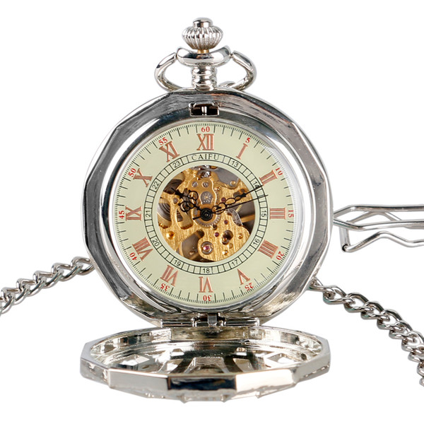 Silver Color Spider Hollow Design Mechanical Pocket Watch Men Women Game of Thrones Fob Clock Chain Gifts