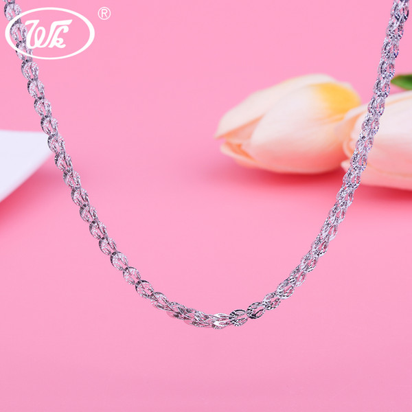 WK 4MM Thick Long Silver Chain 925 Sterling Silver Chains Woman Ladies Girls Silver Necklace Hollow Phoenix Tail Design 9g NA067 S18101105