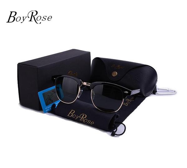 Top Qualität BoyRose 58 MM Mode Aviator Pilot Vintage Sonnenbrille Für Männer Frauen UV400 Band Strahlen Polarisierte Linsen Sonnenbrille Verbote Mit Fall