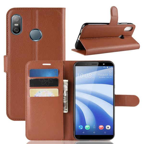 Neue litschi muster flip magnetische pu leder brieftasche stehen telefon case für htc desire 12 plus u11 augen u12 leben u12 plus lychee korn abdeckung