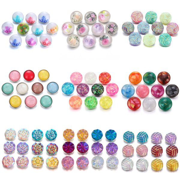 Interchangeable Snap Jewelry 18MM Noosa Jewelry Findings Natural Stone Shell Acrylic Resin Snap Button Fit Bracelet Necklace Ring Earrings