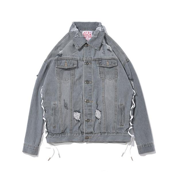 Las chaquetas de mezclilla grises son prendas de vestir calientes para hombres en 2018 negro oscuro calle alta cadera calle holgada deco incrustaciones retro Tamaño M-XXL
