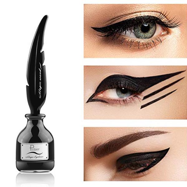 Pudaier De larga duración Magic Feather Eyeliner Impermeable Maquillaje Negro Delineador de ojos Lápiz para mujeres Herramienta profesional Mantener perfectamente