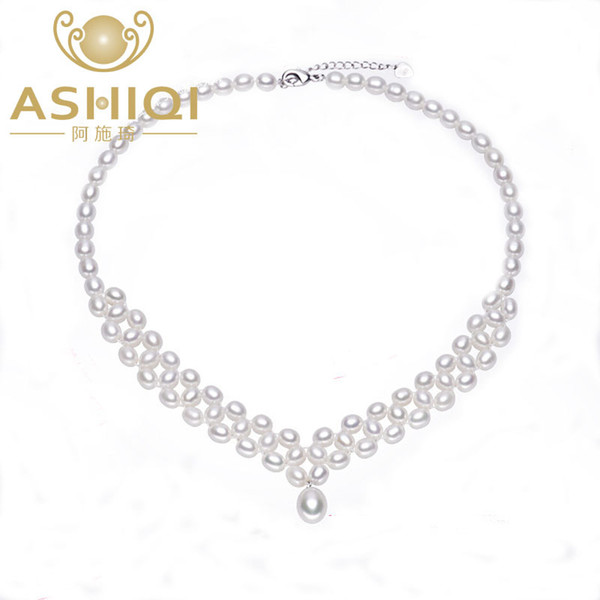 ASHIQI Natural Freshwater Pearl Necklace with Genuine 925 Sterling silver clasp Pearl Jewelry for women bride Wedding Y1892806