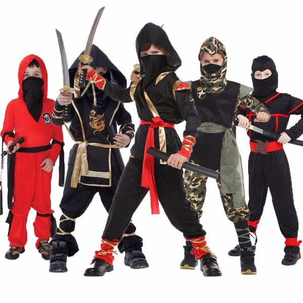 Ninja Kit Hood Mask Black Warrior Dress Up Halloween Child Costume Accessory