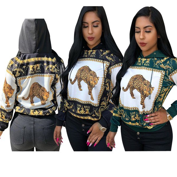 Leopard Hoodies Frauen Tiere 3D Print Hooded Sweatshirts 2018 Herbst Casual Long Sleeves Hoodie Grün Schwarz Größe S-2XL