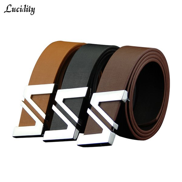 Lucidity Men's Leather Belt Smooth Buckle Brand Name Men Belts PU Leather Alphabet Simple Casual Belts Man's