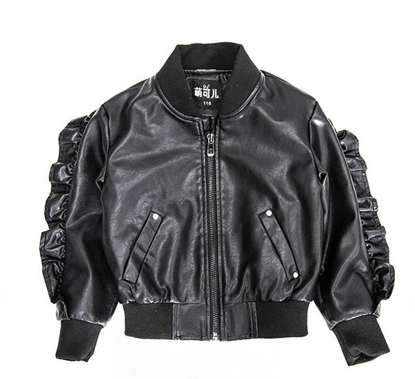 INS Kids jacket fashion new children soft PU leather jacket outwear boys girls ruffle long sleeve zipper jacket kids leisure outwear A01151