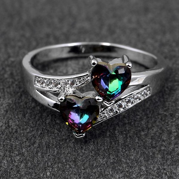 top popular Wedding Ring 925 Sterling Silver Ring with Double Love Heart Cubic Zircon Diamond wholesale jewelry Fast free shipping 2019
