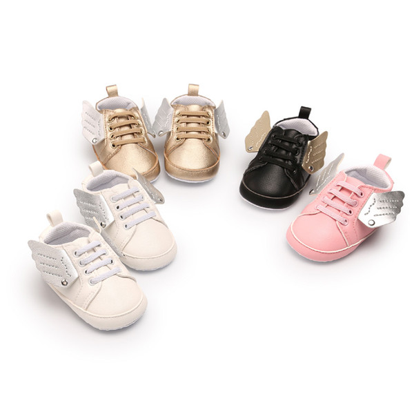 Newborn Baby Shoes First Walker White Angel Wings Modelling 2018 Toddler Boys Girls Shoes Comfortable Soft-soled Infant Prewalker