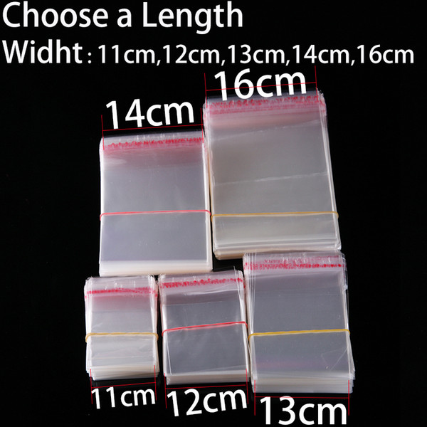 Retail 11 to 16cm Width Transparent Self-adhesive Plastic Bags Clear Party Sweets Cake Cookie Candy Bag Gift Packaging Poly Bags