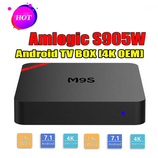 M9S MINI S905W Smart TV Box Android 7.1 4K Box TV Soporte Lan WiFi 4K video 3D películas Reproductor de medios Mejor TX3 X96 H96 S905W