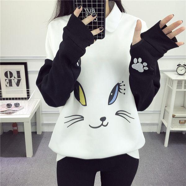 Pullovers Lovely Cartoon Hoodies Female Kawaii Sleeved Women 'S Sweatshirts Leisure Sudaderas Mujer Autumn Winter Cute Wild Tracksuits