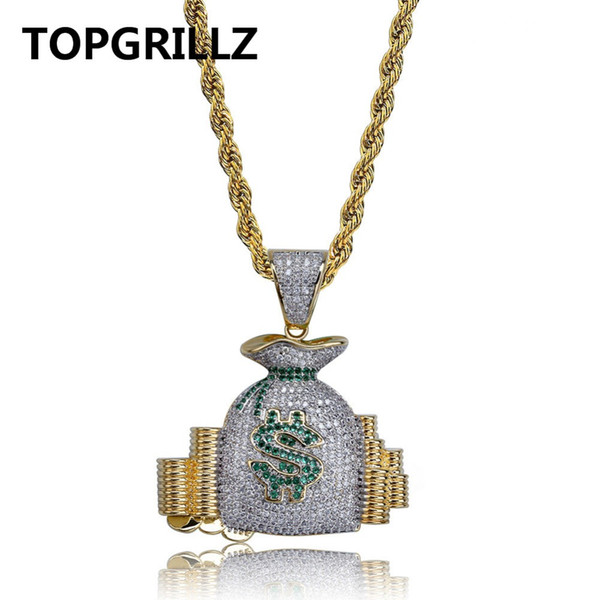 TOPGRILLZ Bolsa de Dinero Stack Iced Out Monedas en Efectivo Collares pendientes de Cobre Oro Color Cubic Zircon Hip Hop Hombres Charm Jewelry Gifts