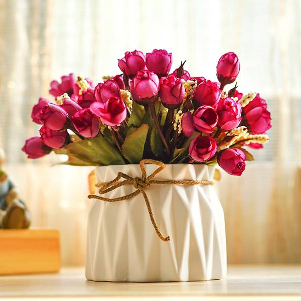 H18cmx10cm Home Decor Simulation Mini Rose Buds Bouquet Bonsai Potted Artificial Flowers with Vase Desktop Indoor Decorative Set