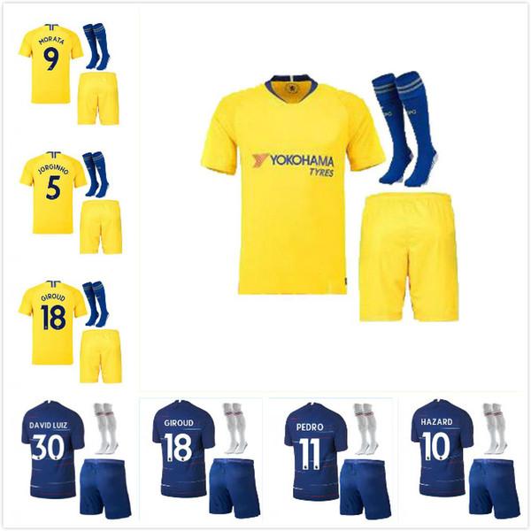 d4d8a79cb 2018 2019 Chelsea home away kit soccer jersey 18 19 MORATA FABREGAS OSCAR  HAZARD MIAZGA WILLIAN