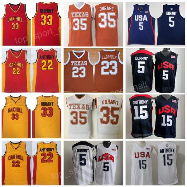 1d5825e18a3 Texas Longhorns College Basketball Jersey 35 Kevin Durant Lamarcus Aldridge Oak  Hill High School 22 Syracuse Orange Carmelo Anthony Team