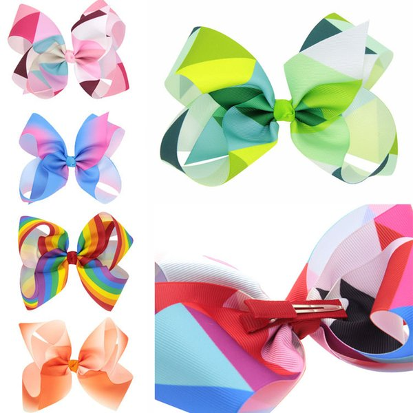 Girls JOJO Bows Hairpin Gradient color Seven Grosgrain Ribbon Boutique Rainbows Bow Hair Clips 12 Styles For Kids Children Gifts H973Q