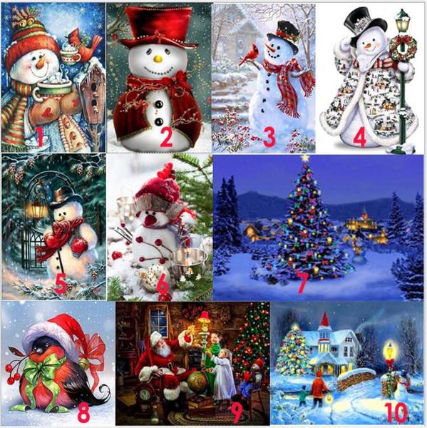 best selling Santas Christmas Tree Diamond Embroidery DIY Needlework Full Diamond Painting Cross Stitch 5D Rhinestones Mosaic New Year