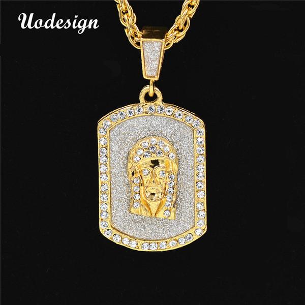 Uodesign Hip Hop Necklace Mens Nightclub Crystal Hiphop Rap Dacing Jesus Rock Necklace Gold Chain Pendant Necklace