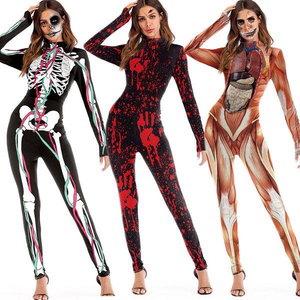 Fashion Womens Scary Halloween 3D Skull Viscera Blood Print Skinny Ladies Party Costume Jumpsuit
