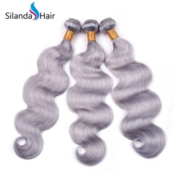 Silanda Hair Hot Sale Nice Grey Colored Brazilian Remy Human Hair Weave Weft Body Wave Hair Bundles Free Shipping