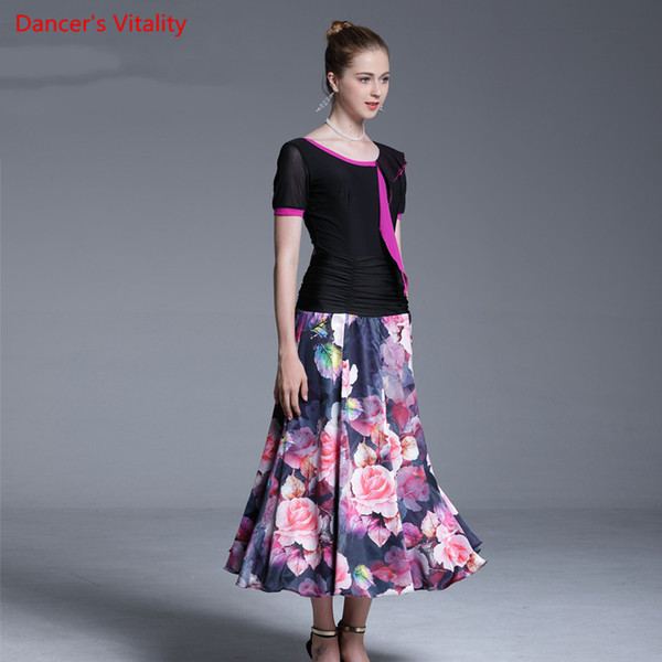 Fashion Girls Modern Dance Cut out Top Ruffled Big Hem Skirt Competition Performance Suit Women Lady Ballroom Jazz Waltz Foxtrot Dancewear