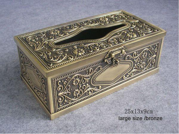 luxury vintage classic bronze alloy tin metal rectangle tissue box dispenser napkin toilet paper holder tissue box cover 349L