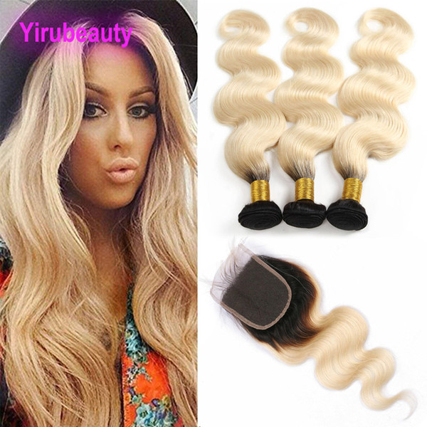 brazilian human hair mink 1b/613# blonde body wave 3 bundles with 4x4 lace closure middle three part body wave wefts with closure, Black;brown
