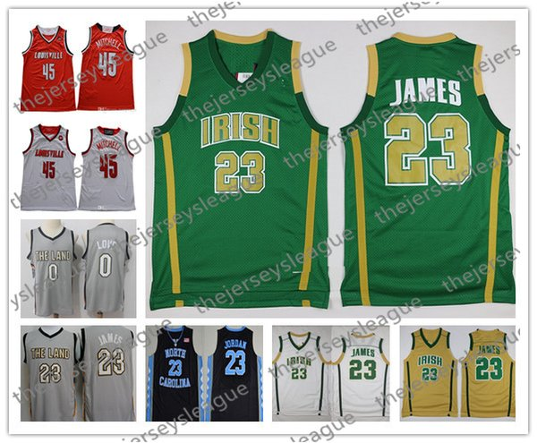 NCAA Irish #23 LeBron James Kevin Love JR Smith Gray Black Red Green Good Quality Stitched 2018 Hot Sale Basketball Jerseys Free Shopping