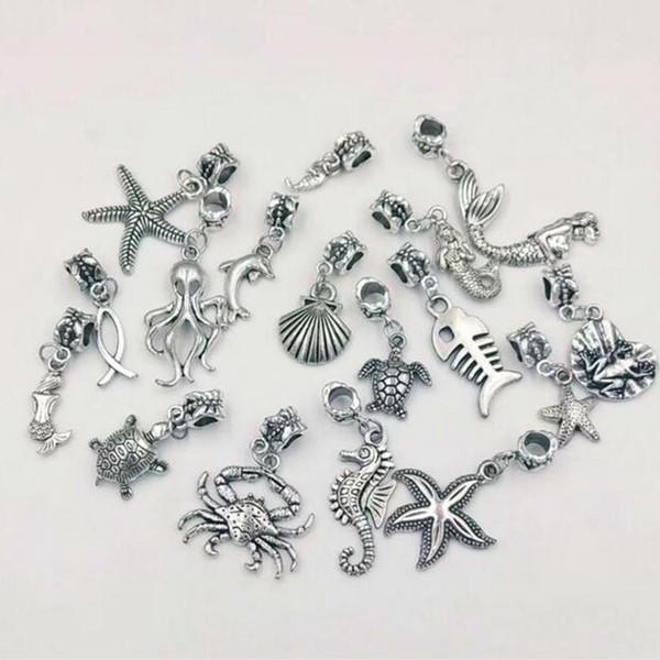 80pcs / lot Vintage étoile de mer argent / hippocampe / dauphin / poulpe / tortue / sirène / crabe mélange de charmes pendentifs collier bracelet bijoux-9