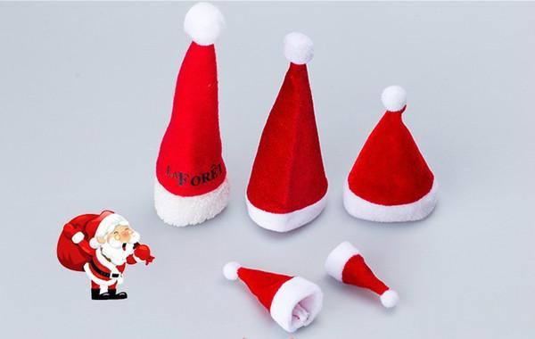 2018 firestorm vendas diretas mini-chapéu de natal brinquedos de pelúcia decoração suprimentos garrafa decoração presentes de natal não-tecido chapéu de natal