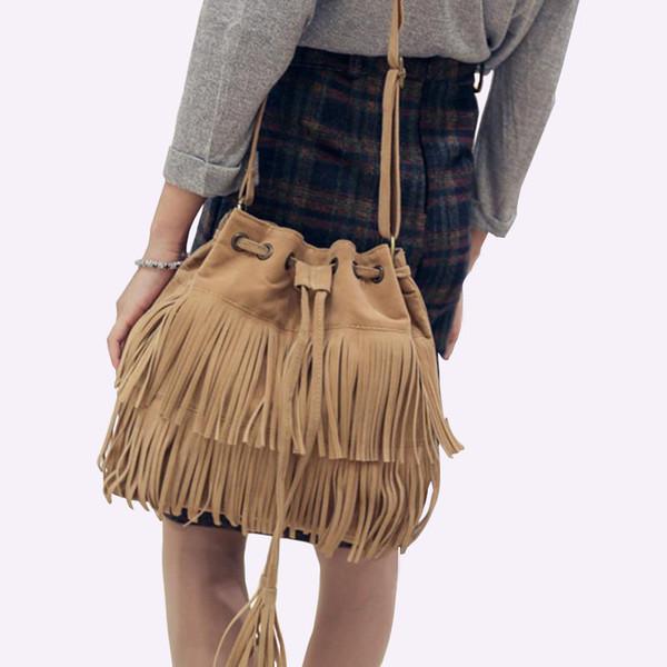 2019 Fashion 2018 Retro Faux Suede Fringe Women Bag Messenger Bags New Handbag Tassel Shoulder Handbags Crossbody Bag bolsa feminina